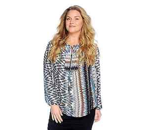 V.by Vanessa Printed Woven Raglan Sleeved Shirttail Hem Tie-Neck Blouse Br/Bl 3x