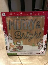 Disney Parks Disneyland Mickey Minnie Mouse Merry and Bright Light Up Wood Sign