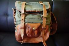 Excellent Unique Ralph Lauren RRL  Leather Canvas Messenger Bag Briefcase ITALY