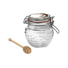 Kilner Honey Pot & Wood Dipper / Round Jar 400ml 0.4L Clip Top Storage Airtight