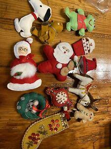 Vintage Lot of 12 Sequin Felt Christmas Ornaments Handmade Snoopy Santa Mrs.