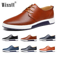Men's Oxford Leather Casual Shoes Outdoor Lace Up Sneakers Breathable Work Shoes