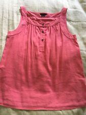 Women's Theory petite coral linen blend sleeveless button front tank size M