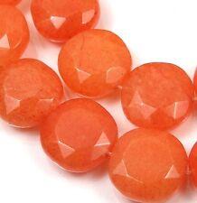 15x15mm  Orange Tangerine Jade Faceted Coin Beads (12)