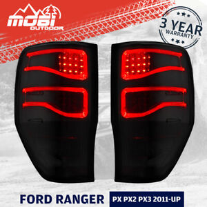 Pair MOBI LED Tail Lights For Ford Ranger PX1 PX2 PX3 2011-ON Wildtrak Smoked