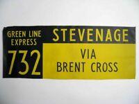 Vintage bus destination blind Stevenage Brent Cross screen printed linen