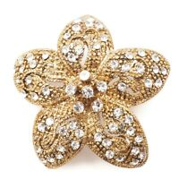 Vintage Estate Gold Tone Crystal Rhinestone Star Flower Brooch Scarf Lapel Pin