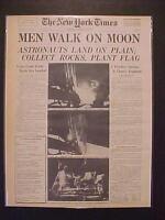 VINTAGE NEWSPAPER HEADLINE ~NASA ASTRONAUT SPACE SHIP MEN LAND WALK ON MOON 1969