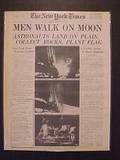 VINTAGE NEWSPAPER HEADLINE ~NASA ASTRONAUT SPACE MEN LAND WALK ON MOON SURFACE~