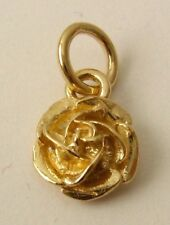GENUINE SOLID  9ct  9K YELLOW  GOLD ENGLISH ROSE FLOWER Charm Pendant