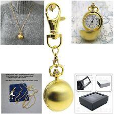 GOLD Plated Women Pendant Watch Quartz 2 Ways Necklace + Key Chain Gift Set L12