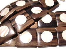 DJ-07 Ebony Wood Inlaid Makabibi MOP Shell Bead Component Square Handmade Large