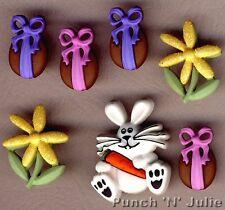 BUNNY HOP - Chocolate Easter Egg Bunny Rabbit Carrot Dress It Up Craft Buttons