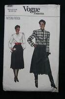 Vintage 1980s Sewing Pattern VOGUE 8525 Size 8-10-12 Jacket Skirt Top
