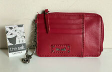 THE SAK IRIS SCARLET RED LEATHER CARD CASE / KEY HOLDER / COIN PURSE WALLET SALE