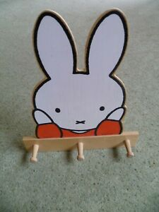 Miffy Wooden 3 Hook Clothes Door Peg Dick Bruna 11 inches tall 10 inches wide
