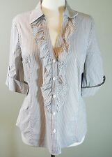 NEW! Not Your Daughter's Jeans NYDJ - Ruffle Blouse Shirt Size M - Brown Stripe