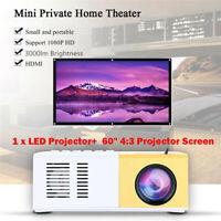 "YG300 1080P Theater Cinema USB HDMI AV SD LED Projector+60"" 4:3 Projector Screen"
