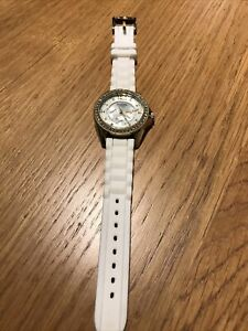 Ladies Fossil White Rubber - White/Gold Encrusted Stones