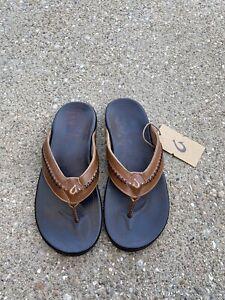 OluKai Mea Ola Sandal Tan/dark java Size 11 US Men's Flip Flop