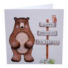 Birthday Card Big Bear and Post with Happy Birthday Personalised Handmade
