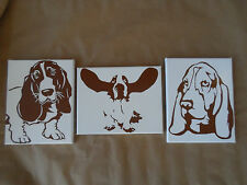 Basset Hound Painted Canvas Wall Hangings / Wall Art - Set of 3