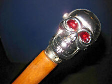 MW.494M: SILVER SKULL ON TOP OF ASH WOOD WALKING STICK CANE ZOMBIE
