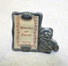 Vintage Miniature Pewter Photo Frame Teddy Bear 1-1/2x1-1/8