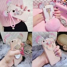 Cute Luxury Bling Diamond Crystal Mickey Ears Soft Strap Clear Phone Case Cover