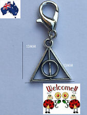 NEW NEW!! HARRY POTTER DEATHLY HALLOWS SILVER TONED CLIP ON CHARM AUS SELL 85W
