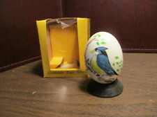 Decorative Real Egg on Wood Stand - Hand Painted Blue Bird - Price Imports - Iob