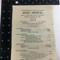 Butler County Annual Classic Music Festival Program March 31,1939 Andover Kansas