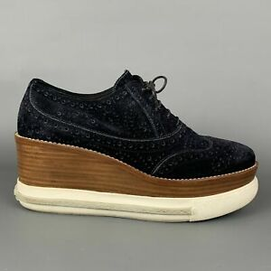 MIU Size US 8.5 / 38.5 Navy & Brown Suede Oxford Wedge Laces Shoes