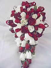 Dark red +  ivory rose bridal wedding  teardrop bouquet +  ribbon + silver hoops