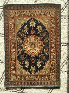 HEREKE Tapis Turc Signé Soie Ancien Bleu Vintage Kilim Silk Turkish Carpet Rug