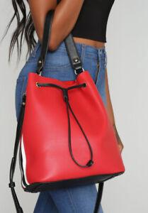 Fashion Nova Red Stripe Bucket Bag NWT