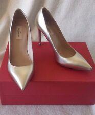 Valentino Garavani Single Rockstud Pointy Leather Pump Metallic Gold 37.5 7.5