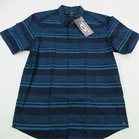 Oakley Mens Button Front Shirt Medium Short Sleeve Spread Collar Regular Fit NWT