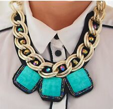 Handmade Womens Chunky Black Gold Statement Necklace with Turquoise Stones Bead