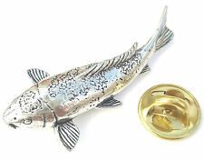 Koi Carp Fish Handcrafted from English Pewter in the UK Lapel Pin Badge