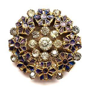 Antique Button ~ Stunning LG 19th Century w Claw Set Pastes & Enamel Florals