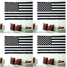 4 PCS US FLAG -Deluxe American USA B&W Wall Hanging Tapestry Stars & Sewn Stripe
