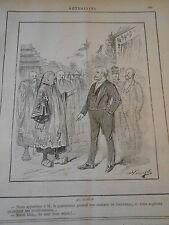 Caricature 1887 - Au Tonkin Nos souhaites de bienvenue
