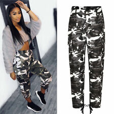 Womens Camo Skinny Casual Joggers High Waist Long Pants Gym Trouser Lace Up