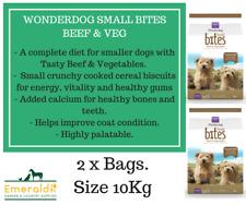 2 X SNEYDS WONDERDOG SMALL BITES DOG FOOD 10KG BEEF & VEG FOR SMALLER BREED DOGS