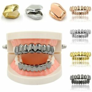 Gold Teeth Grillz Hip Hop Tooth Dental Mouth Grill Copper Caps Top & Bottom Set