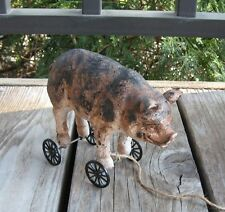 PIG Hog Piggy PULL TOY Statue*Primitive/French Country Farmhouse Urban Decor