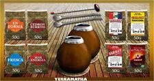 Yerba Mate Tee Set mit 8x50g Tee - Proben große Vielfalt + nötig Accessoires