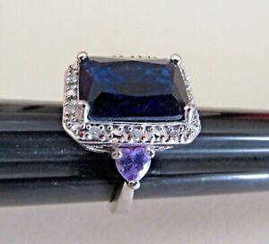 Sterling Silver 925 Emerald Cut Created Blue Sapphire & Amethyst Heart Ring-Sz 8