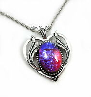 Mexican Opal Dragons Breath Fire Opal Amulet Heart Wing Silver Pendant Necklace